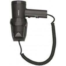 Фен для волос, с настенным креплением, с двумя настройками скорости и защитным выключателем, черный,