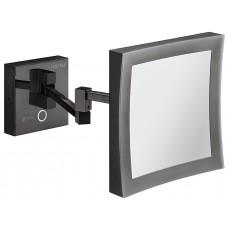 Косметическое зеркало Häfele H1050 латунь графитово-черный квадрат, 152 x 152 мм