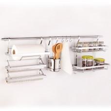 Кухонный релинг с тремя корзинами и крючками, цвет хром  1000 мм