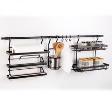 Кухонный релинг с тремя корзинами и крючками, цвет черный  1000 мм