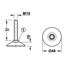 Винт-ножка регулировочный, сталь,  М 10 х 30 мм, под шестигранник