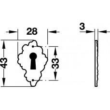 Декоративная накладка для  замка, бронза 28 х4 3 мм.