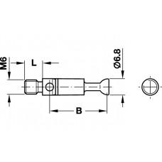 Болт минификс М6, 12 мм, сталь,  никелерованный с буртиком